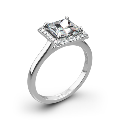 Princess Halo Solitaire Engagement Ring