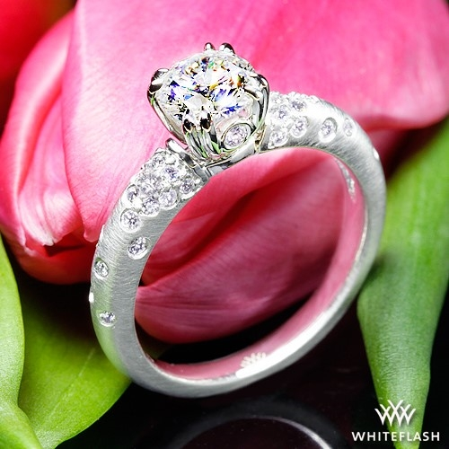 Petite Champagne Pave Diamond Engagement Ring