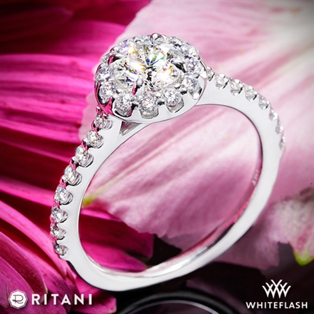 Ritani 1RZ1323 French-Set Halo Diamond Engagement Ring