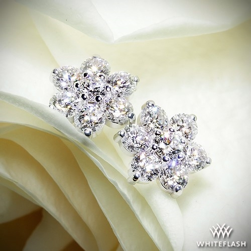 Flower cluster diamond earrings ready set to go 874 100ctw flower cluster diamond earrings mightylinksfo