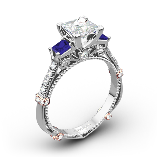 Verragio Parisian DL-124P Shared-Prong Sapphire Three Stone Engagement Ring for Princess