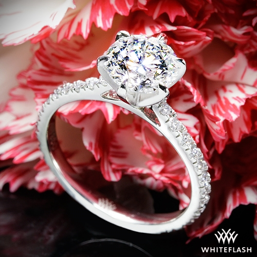 d88f7d60b Solitaire Rings. 1.11ct E VVS2 Virtual Selection Round Diamond set in Cathedral  Three Quarter French-Set Eternity Diamond .