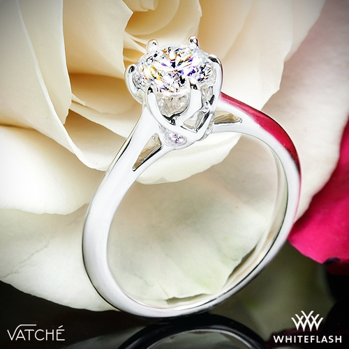 18k White Gold Vatche 191 Swan Solitaire Engagement Ring