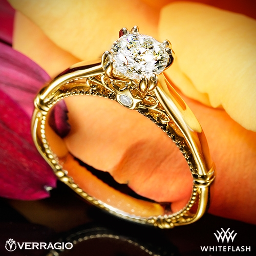 Verragio D-120 Split Claw 4 Prong with Rose Gold Shoulders Solitaire Engagement Ring