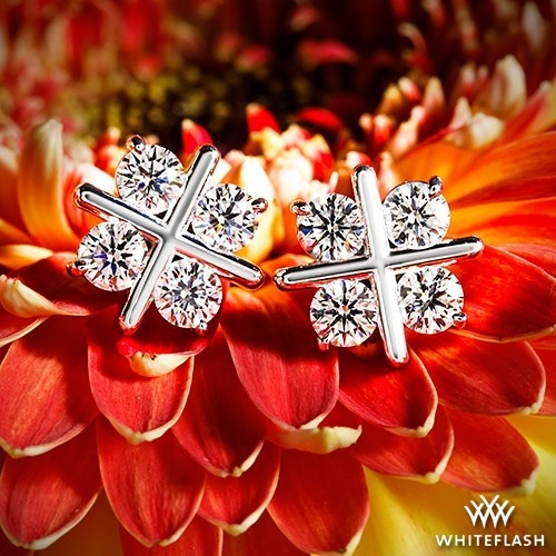White Gold XO Diamond Earrings