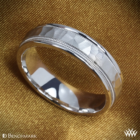 Benchmark Hammered Milgrain Wedding Ring