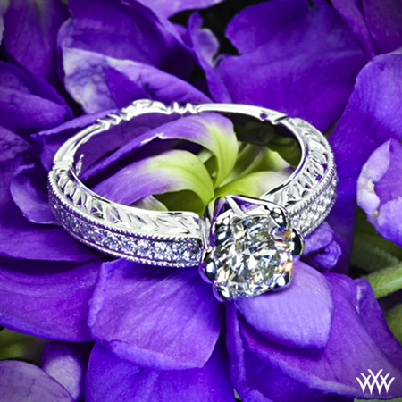 Crescendo Hand Engraved Half-Bezel Diamond Engagement Ring