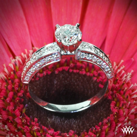 Three-Side Pave Diamond Engagement Ring
