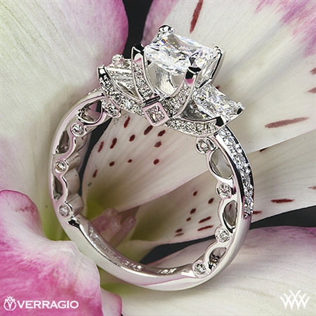 Verragio PAR-3064P Bead-Set Princess 3 Stone Engagement Ring
