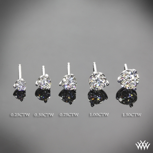 3 prong Martini Diamond Earrings