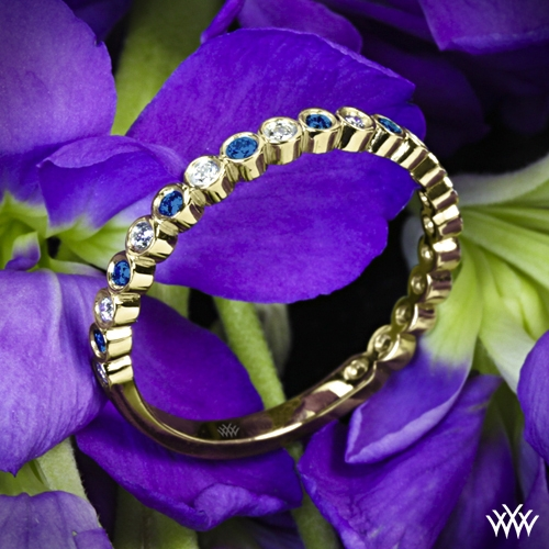 Danielle Jazz Bezel Diamond and Sapphire Ring