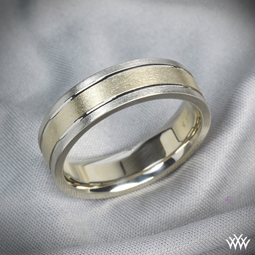 Mens 6mm TwoTone Wedding Band 1212