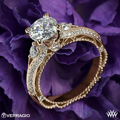 Verragio AFN-5021R-4 Bead-Set Knife Edge Diamond Engagement Ring