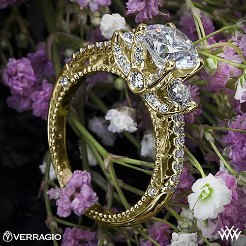 Verragio AFN-5023R Beaded Shared-Prong Three Stone Engagement Ring