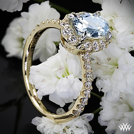 Oval Halo Aquamarine and Diamond Right Hand Ring