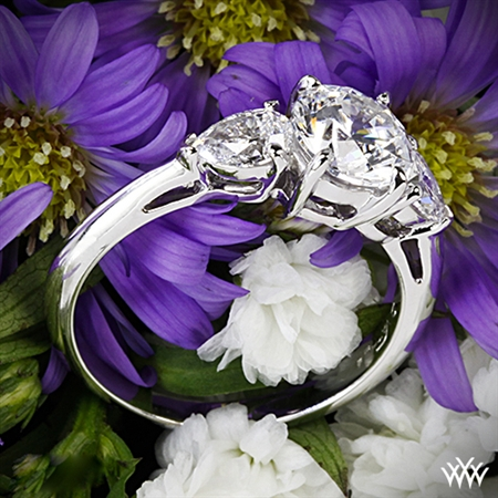 Vatche 310 Round and Pear Three Stone Engagement Ring
