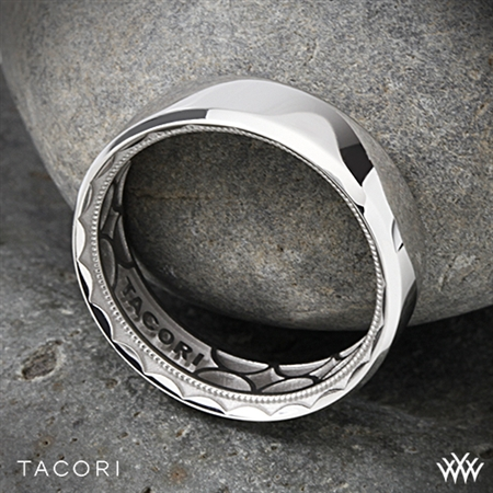 7mm 18k White Gold Tacori 107-7 Sculpted Crescent 3 Sided Eternity Wedding Ring