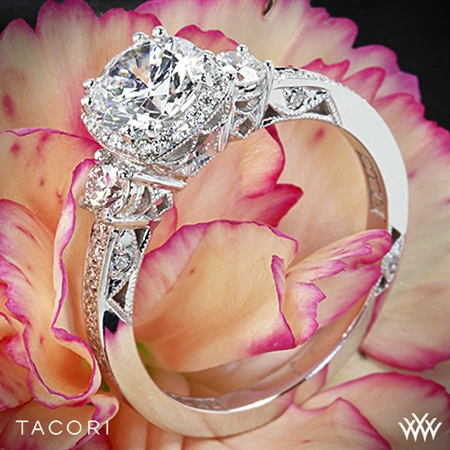 Tacori 2623RD Dantela Three Stone Engagement Ring