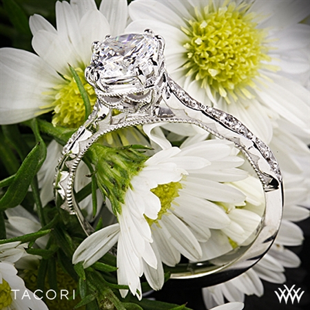 Tacori 57-2CU Sculpted Crescent Diamond Engagement Ring for Cushion