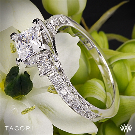 Tacori HT2430SM Classic Crescent Three Stone Engagement Ring for Princess