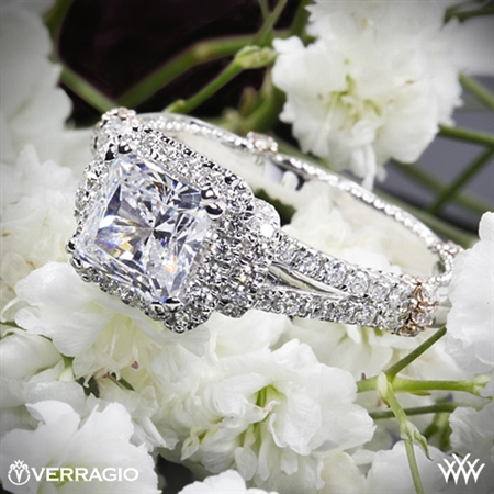 Verragio Parisian DL-117P Dual Claw Halo Diamond Engagement Ring for Princess