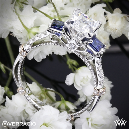 Verragio DL-124P Shared-Prong Princess and Sapphire 3 Stone Engagement Ring