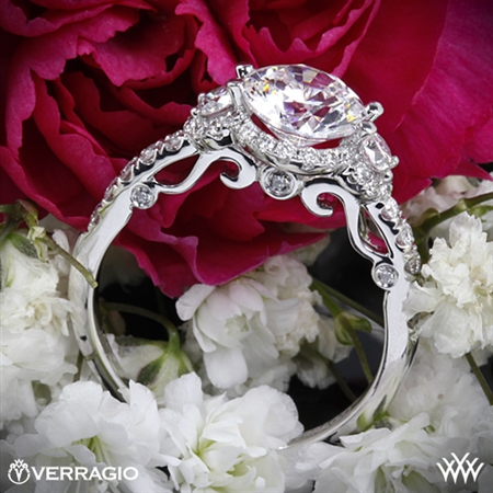 Verragio INS-7049D Double French-Set Halo Three Stone Engagement Ring