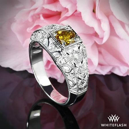 Yellow Sapphire and Diamond Right Hand Ring