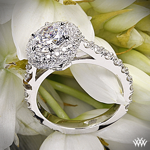 Rounded Pave Halo Diamond Engagement Ring
