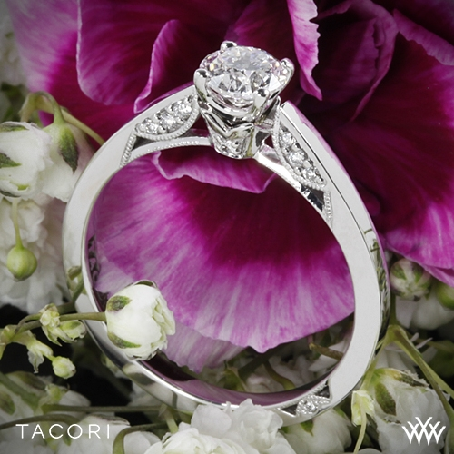 18k Rose Gold Tacori 3002 Simply Tacori Crescent Complete Solitaire  Engagement Ring with 0 50ct Diamond Center