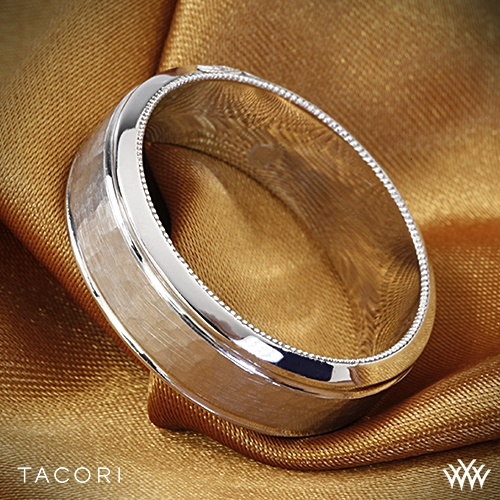 Tacori 71 7 Wh Sculpted Crescent Hammered Wedding Ring 2855