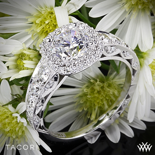 Tacori HT2516CU Blooming Beauties Cushion Double Bloom Diamond Engagement Ring