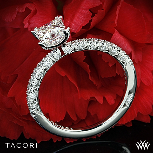 Tacori HT2545PR Petite Crescent Scalloped Millgrain Diamond Engagement Ring for Princess