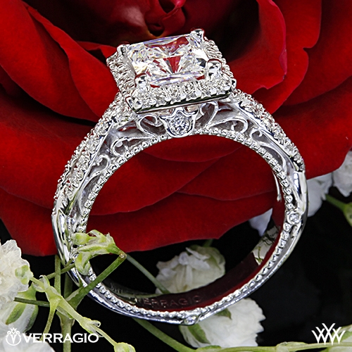 Verragio AFN-5005P-2 Halo Twist Diamond Engagement Ring for Princess