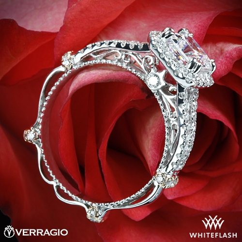 Verragio DL-107CU Pave Cushion Halo Diamond Engagement Ring