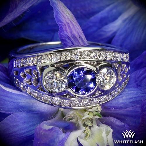 Bezel Set Blue Sapphire and Diamond Right Hand Ring