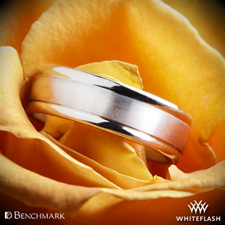 Benchmark Comfort Fit Wedding Ring with Spin Satin Finish