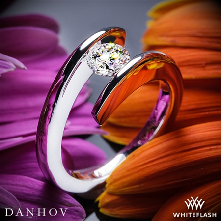 Danhov V119 Voltaggio Tension-Set Solitaire Engagement Ring