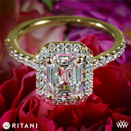 Ritani 1EMZ1323 French-Set Halo Diamond Engagement Ring for Emerald