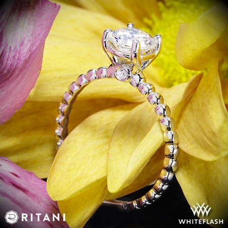 Ritani 1RZ1325 Surprise Diamond Beaded Solitaire Engagement Ring