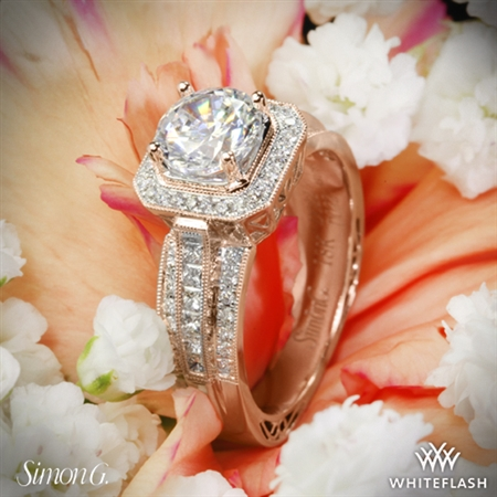 Simon G. NR453 Passion Halo Diamond Engagement Ring