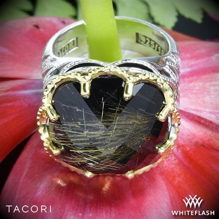 Tacori SR102Y15 Black Lightning Rutilated Quartz over Black Onyx Ring