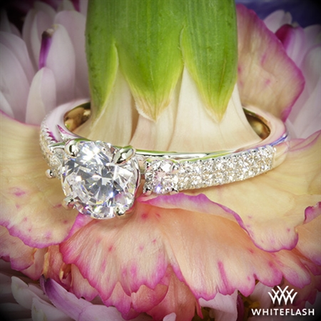 Twin Band Three Stone Engagement Ring
