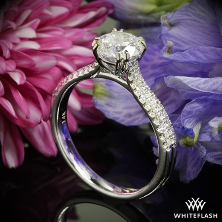 Twin Band Diamond Engagement Ring