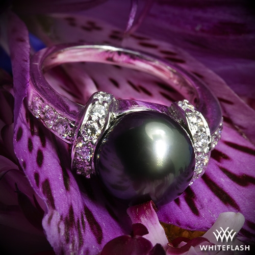 Tahitian Black Pearl and Diamond Ring