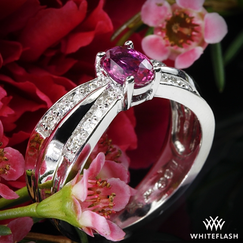 Pink Sapphire and Diamond Right Hand Ring