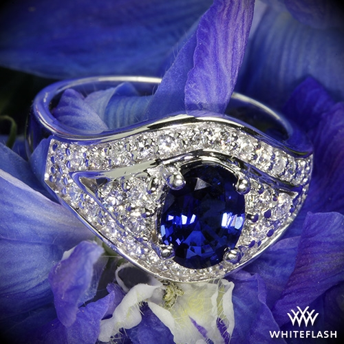 Blue Sapphire Diamond Right Hand Ring