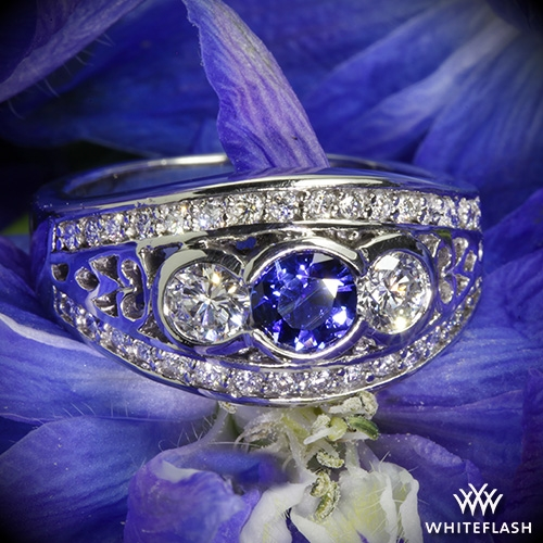 Bezel Set Blue Sapphire and Diamond Right Hand Ring