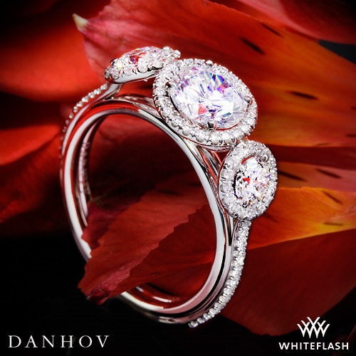 Danhov LE101 Per Lei Halo Three Stone Engagement Ring