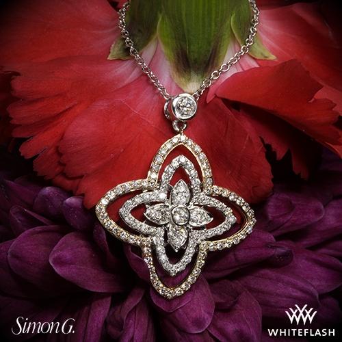 Simon g dp211 duchess diamond pendant 3597 on neck view audiocablefo